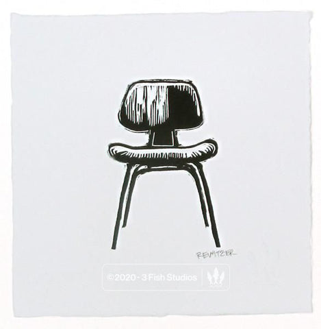 Eames DCW Chair Linocut Print by Eric Rewitzer 3 Fish Studios