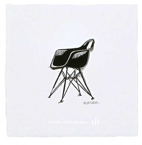 Eames Molded Plastic Chair with Eiffel Base Linocut Print by Eric Rewitzer 3 Fish Studios