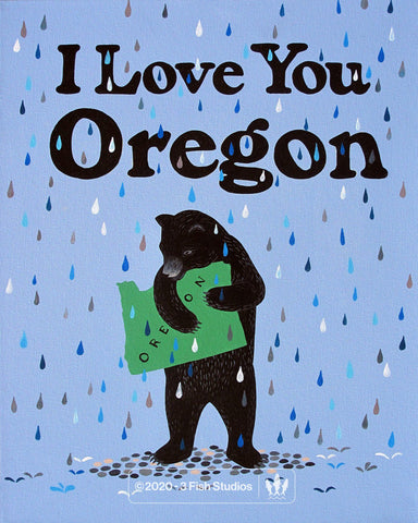 """I Love You Oregon"" Print by Annie Galvin from 3 Fish Studios"