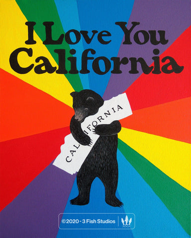 """I Love You California"" Pride Print by Annie Galvin 3 Fish Studios"