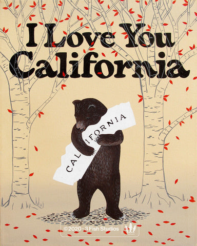 """I Love You California"" Red Leaf Print by Annie Galvin 3 Fish Studios"