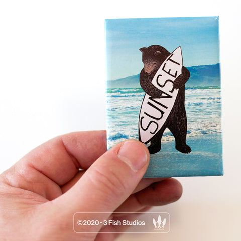 Sunset Bear Magnet from 3 Fish Studios