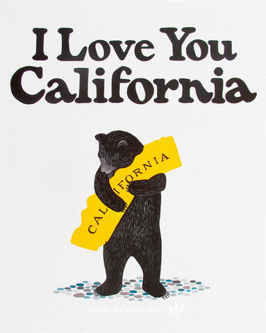 """I Love You California"" White Bear Print by Annie Galvin 3 Fish Studios"
