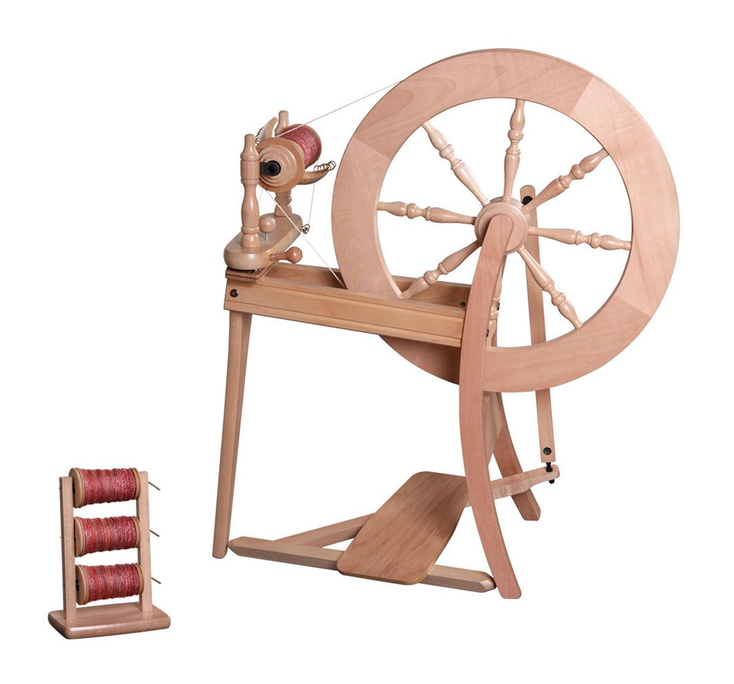Traditional Spinning Wheel Single Drive Natural
