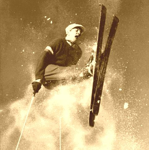 A Roelsprung at Lake Placid c. 1946 on Vintage Skis.