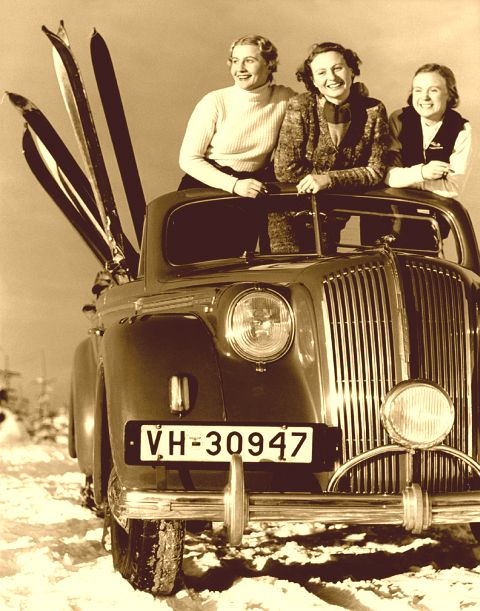 Vintage Ski Girls in Car.