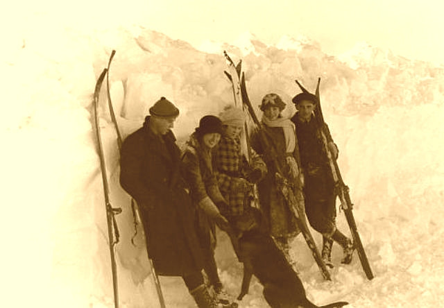 Ipsheming Michigan skiers with their old wood skis c. 1928.
