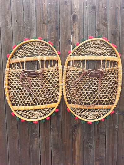 Antique Native American Snowshoes with pom poms