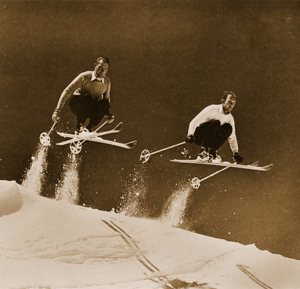 Vintage Ski Photo - Two Skiers Jumping