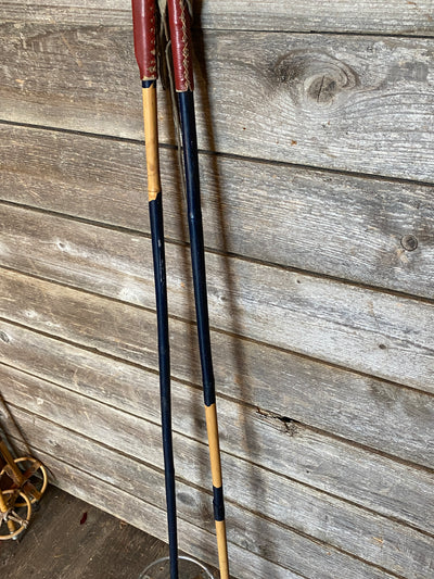 Antique Bamboo Ski Poles with full leather grip