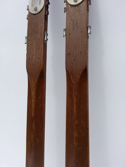 Vintage Hickory Downhill Skis - Montgomery Ward Skis