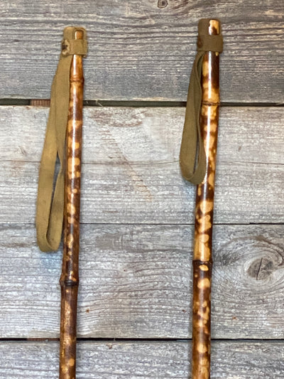 Antique Bamboo Ski Poles- Tiger Striped