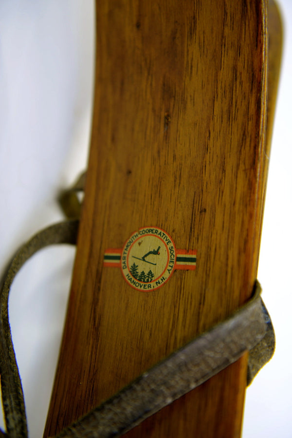 Antique Dartmouth Skis, Boots and Poles