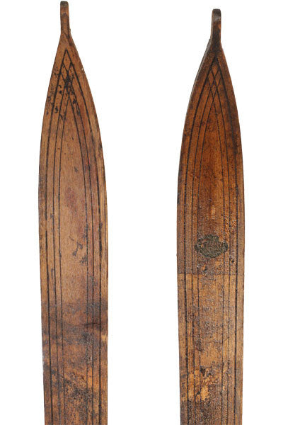 Antique Wooden Skis - Crossed