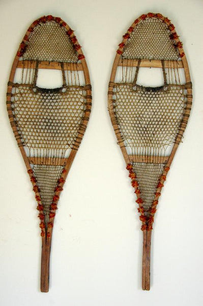 antique native american indian pom pom snowshoes