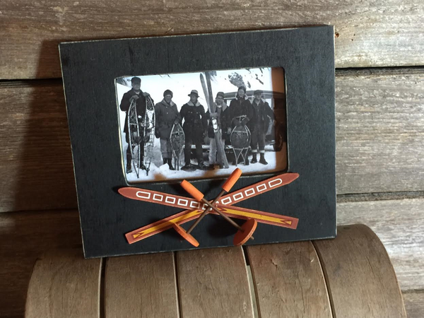 Crossed Skis & Poles Wood Picture Frame