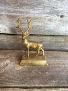 Deer Red Stage Brass Trophy Statute