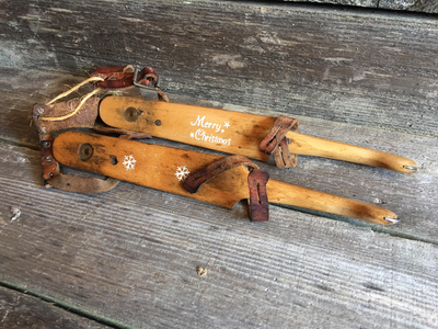 Dutch Vintage Ice Skates with holiday decor stencil