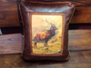 Faux Leather Pillow:  Elk Herd