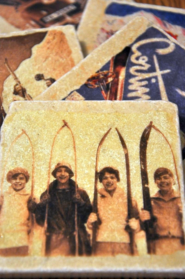 Set of 4 Vintage Marble Ski Coasters - Girls of Skiing