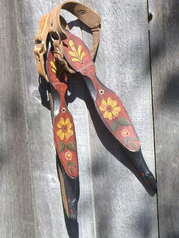 Handpainted Antique Dutch Ice Skates