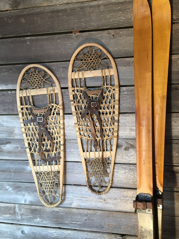 Vintage Trapper Bear Paw Snowshoes