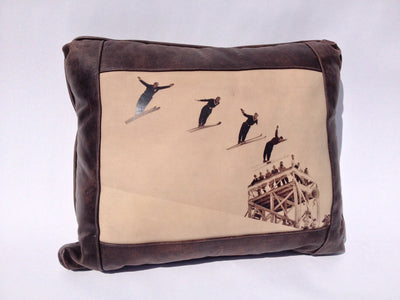 Leather Pillow - Engen Brothers Ski Jumpers