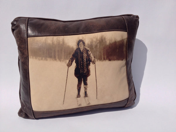 Leather Pillow - Lady Skier