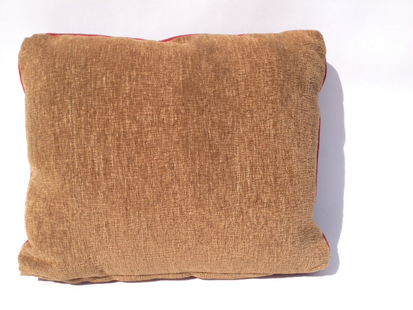 Leather and Fabric Pillow - Vintage Fisherman