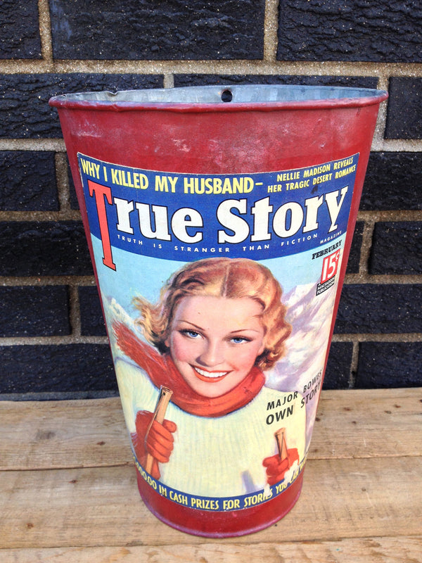 Vintage Maple Sap Can - Red Vintage Lady Skier