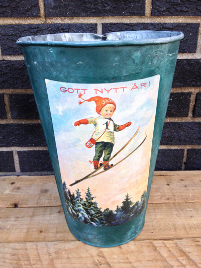 Vintage Maple Sap Can - Vintage Skier Girl Getting Air