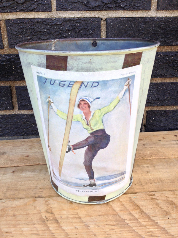 Ski Decor Trash Can - Vintage Maple Sap Can - Jugend Light Blue and Dark Stripe