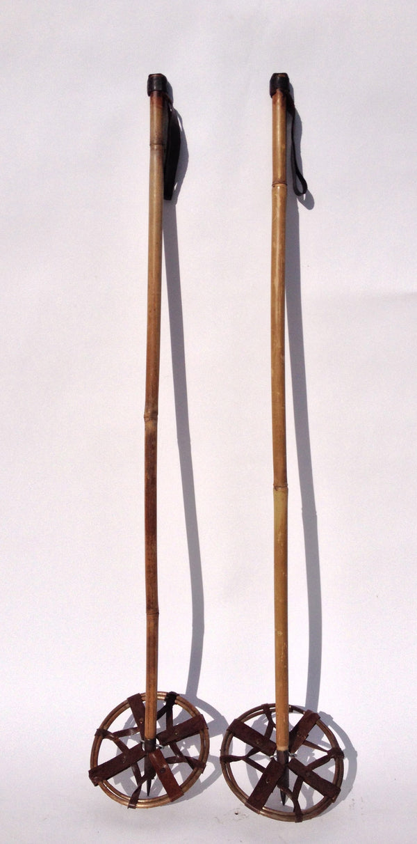 Bamboo Ski Poles - Leather Grips