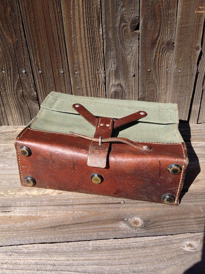 Vintage Leather and Canvas Swiss - Carry Bag