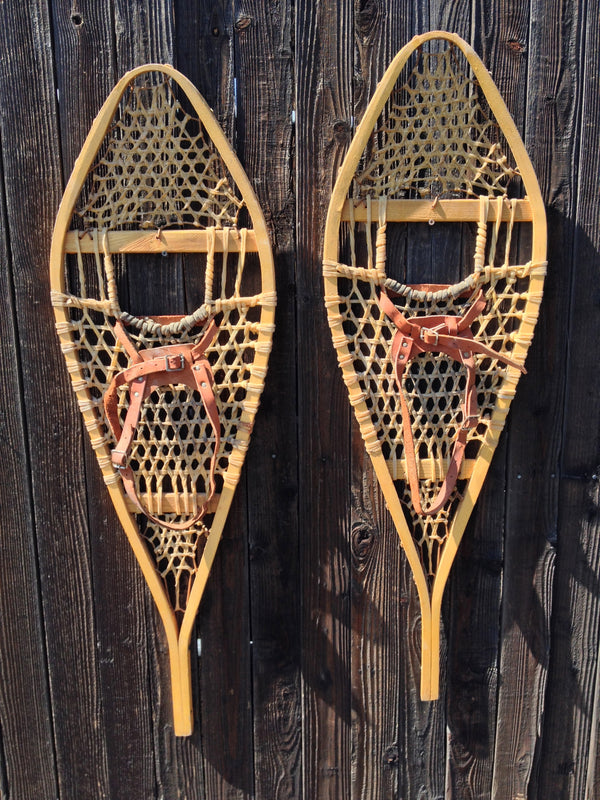 Classic Wood Snowshoes with Leather Bindings