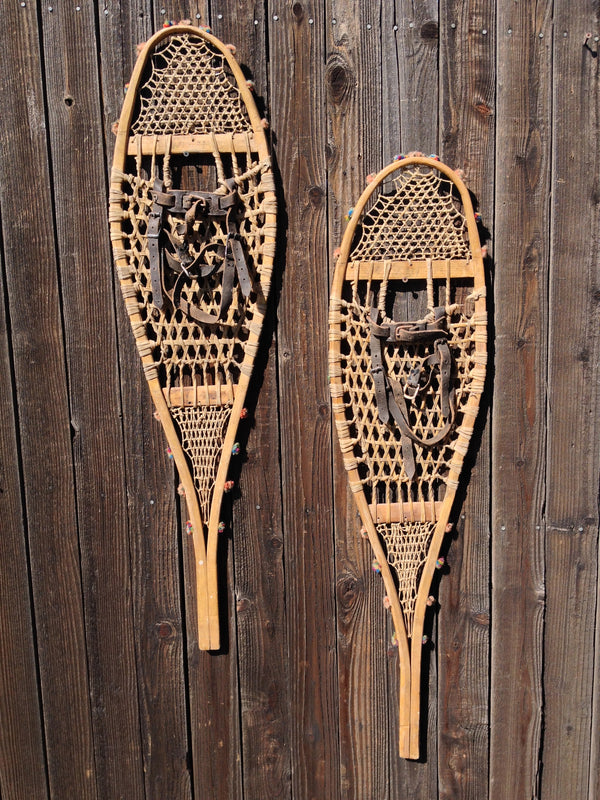 Antique Native American Indian Snowshoes - Multi-Colored Pom Poms