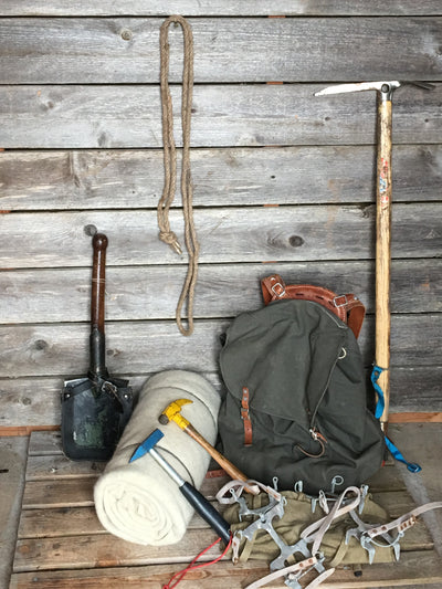 Vintage Climbing Collection for Decor:  Mountaineering Axe, Piton Hammers, Wool Blanket, Pack