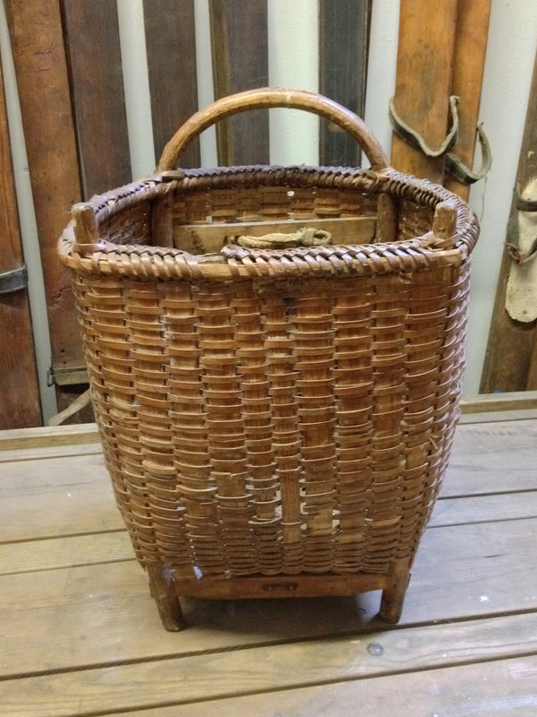 Antique French Woven Wicker Picking Basket