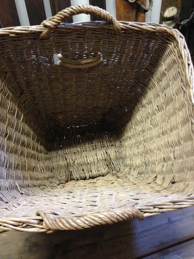 Antique French Woven Wicker Picking Basket with Runners