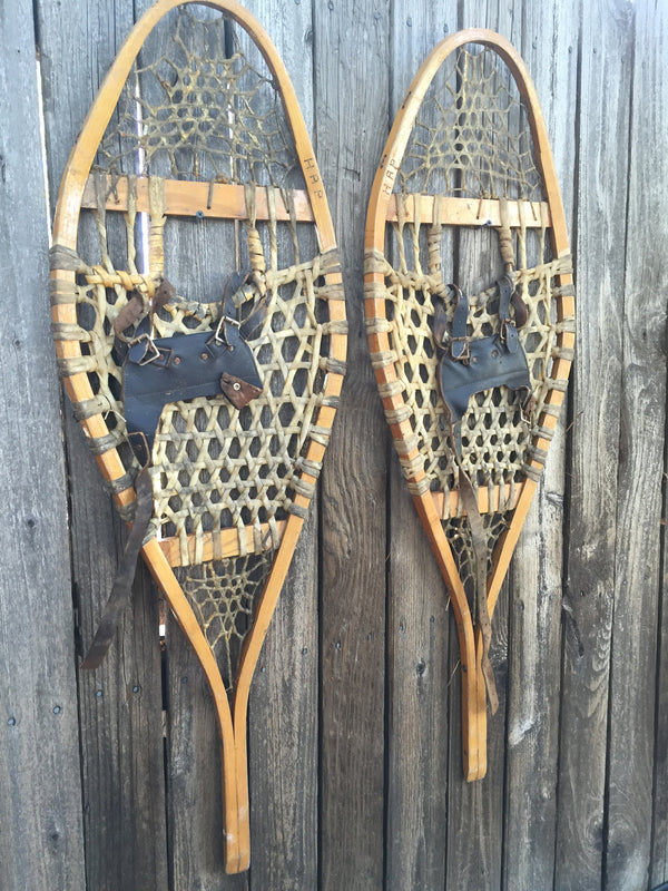 Classic Wood Snowshoes With Leather Bindings Vintagewinter