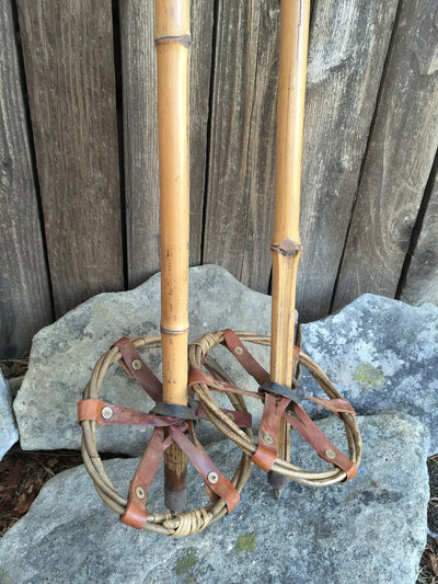 Vintage Bamboo Ski Poles with double ring baskets