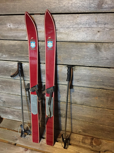 Vintage Childs Snow Patrol Skis with poles