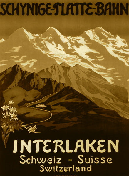 Vintage Ski Poster - Sepia Interlaken Swiss Mountains