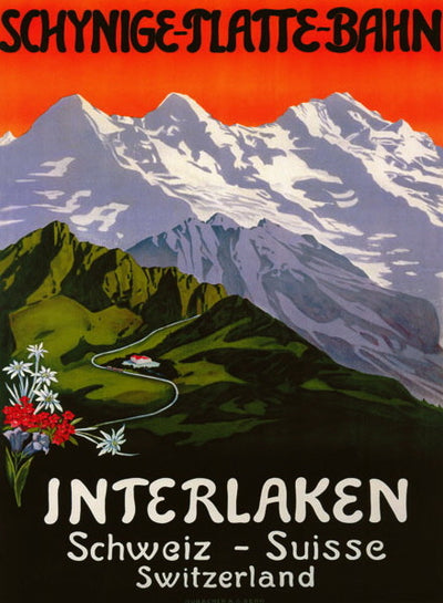 Vintage Ski Poster - Interlaken Swiss Mountains
