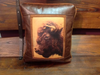 Faux Leather Pillow:  Buffalo Head