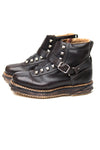 Vintage Austrian Black Leather Ski Boots