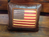 Faux Leather Pillow:  Navaho American Flag
