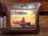Faux Leather Pillow:  Twilight Canoeing