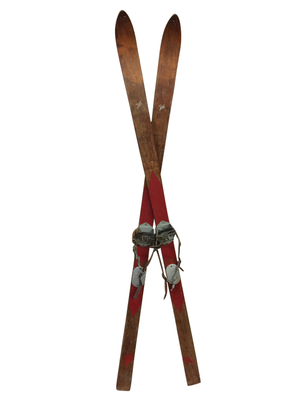 Antique Chalet Downhill Skis