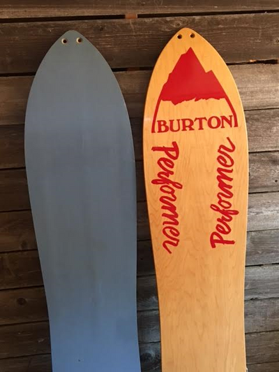 Vintage Burton Performer Snowboards, Set of 2- Blue and Red